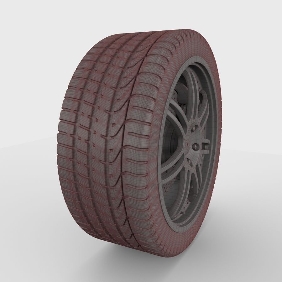 Sport Car Wheel royalty-free 3d model - Preview no. 7