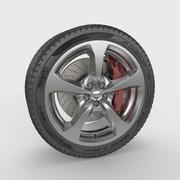 Car Wheel with Brakes 3d model