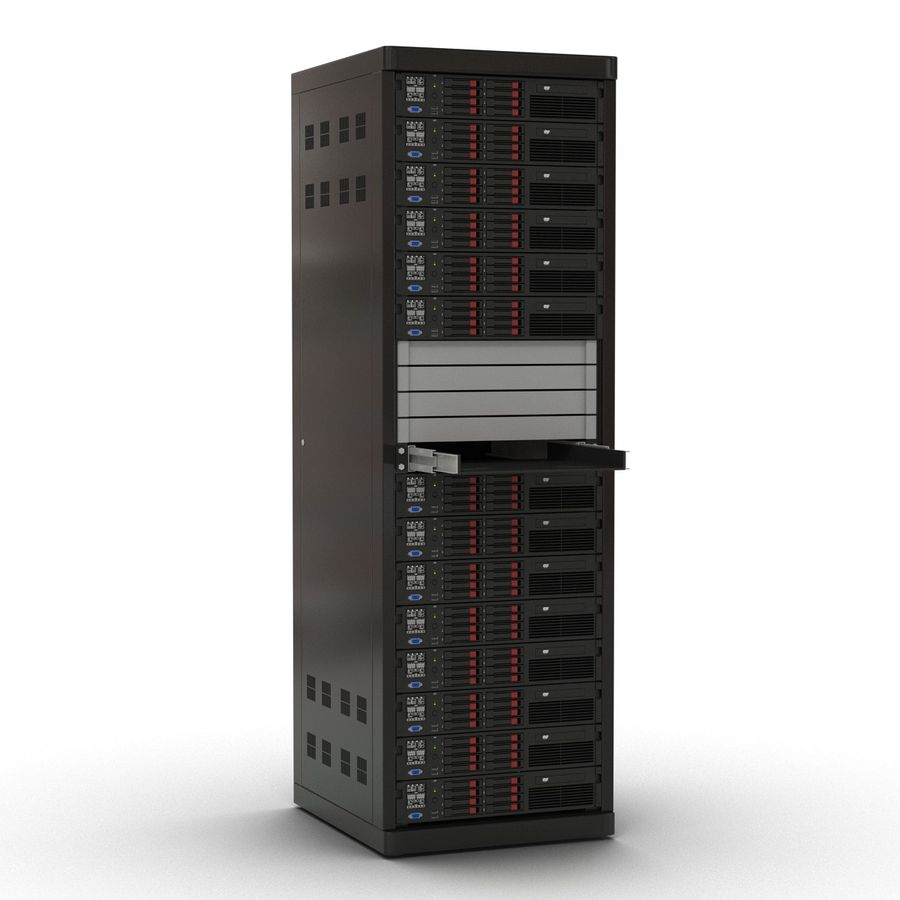 Servers in Rack 2 royalty-free 3d model - Preview no. 4