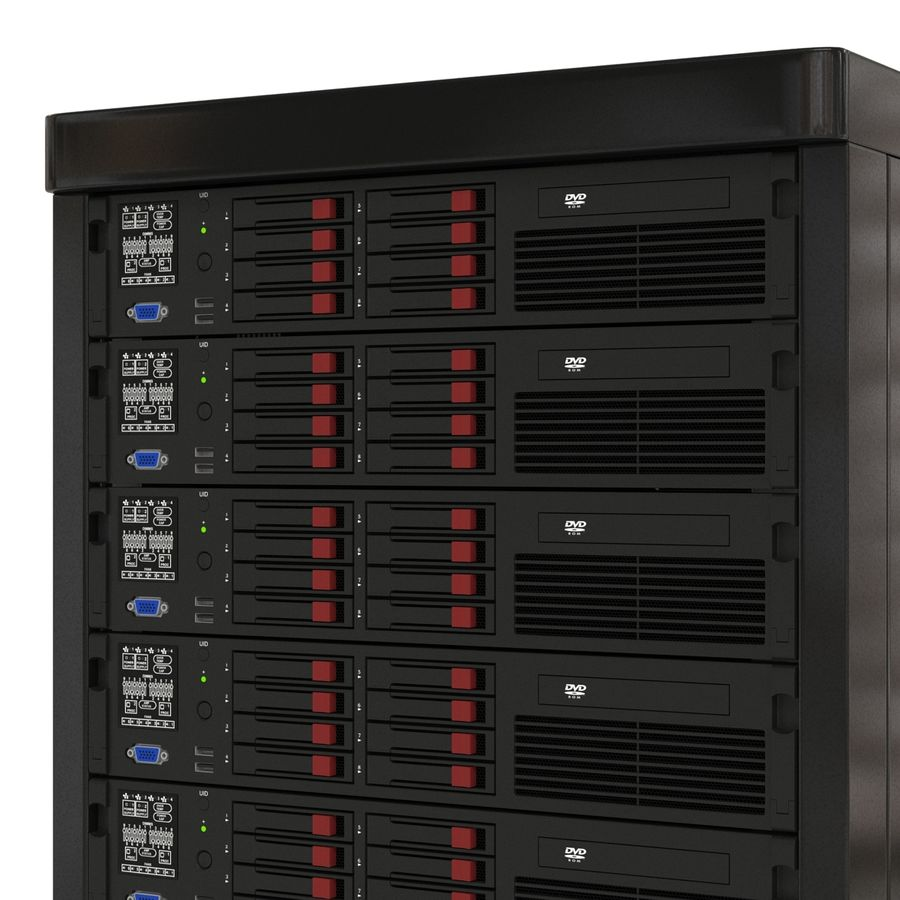 Servers in Rack 2 royalty-free 3d model - Preview no. 13