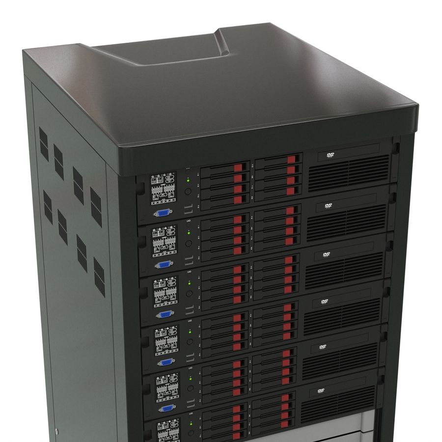 Servers in Rack 2 royalty-free 3d model - Preview no. 12