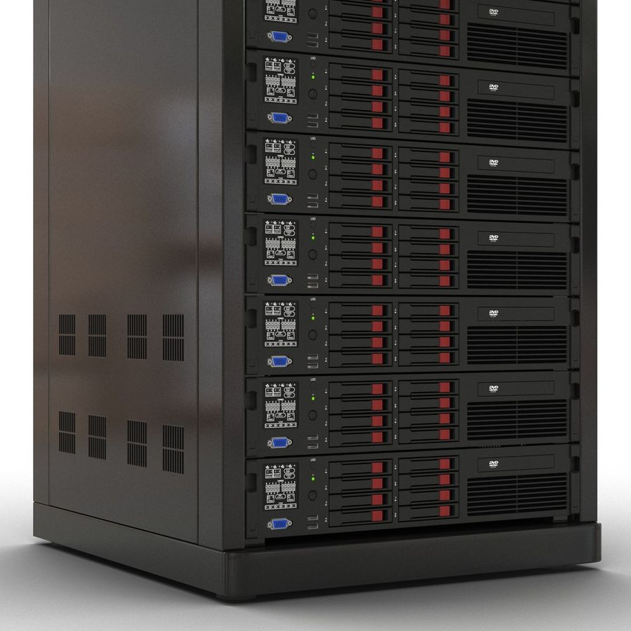 Servers in Rack 2 royalty-free 3d model - Preview no. 14