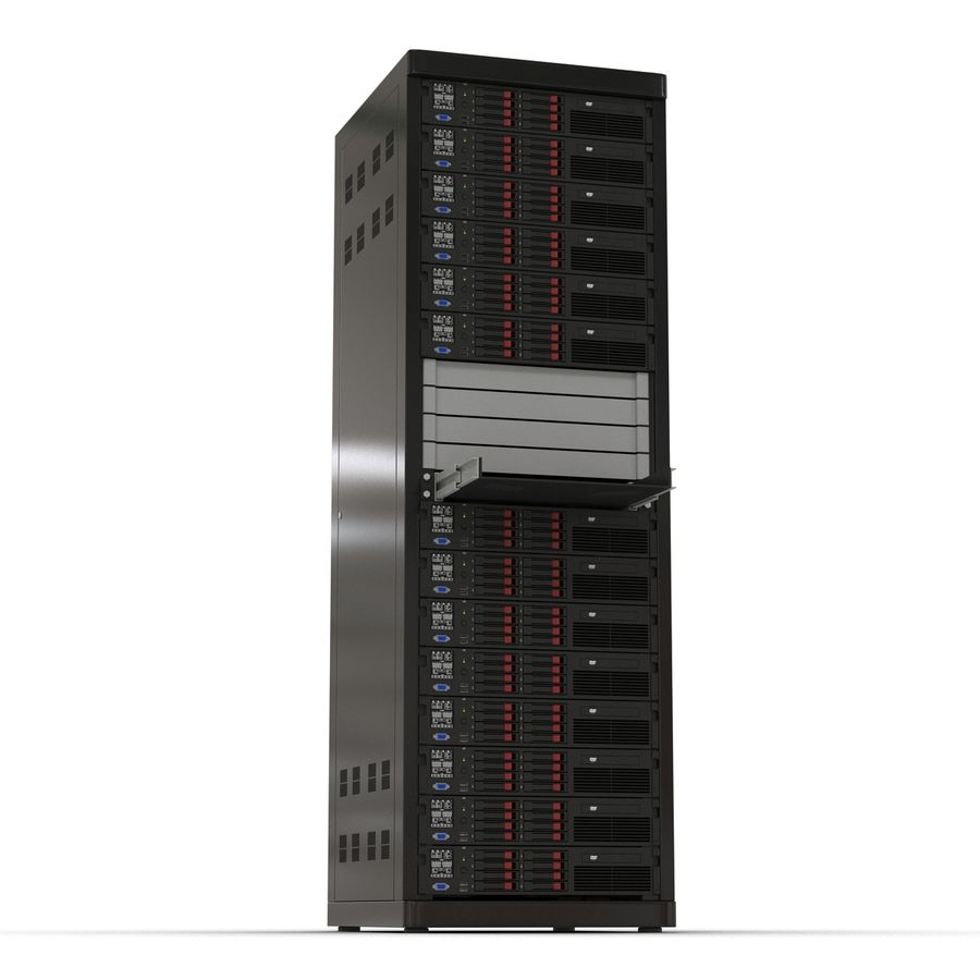 Servers in Rack 2 royalty-free 3d model - Preview no. 9