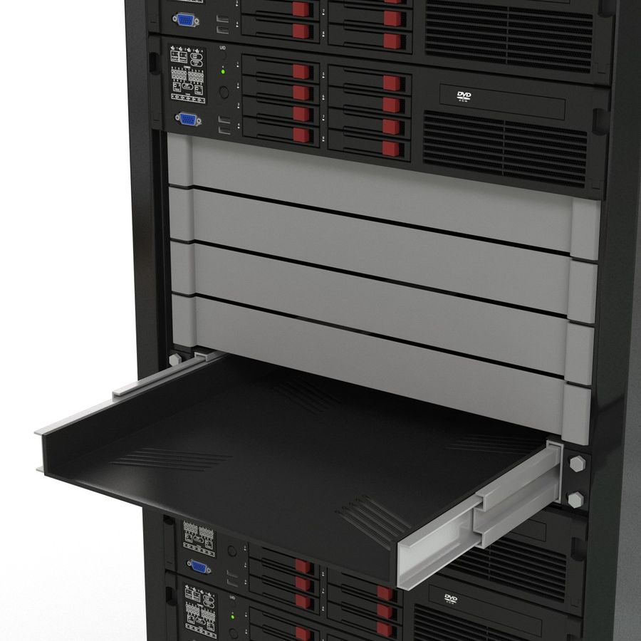 Servers in Rack 2 royalty-free 3d model - Preview no. 17