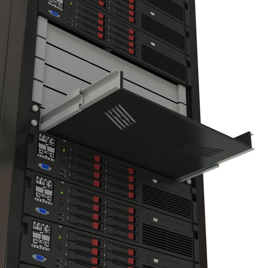 Servers in Rack 2 royalty-free 3d model - Preview no. 16