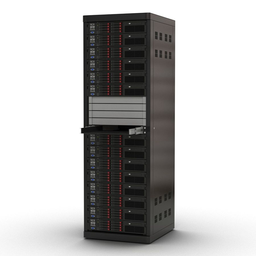 Servers in Rack 2 royalty-free 3d model - Preview no. 3