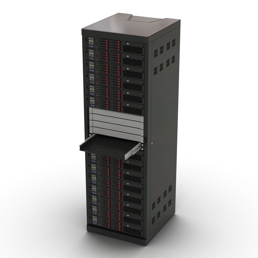 Servers in Rack 2 royalty-free 3d model - Preview no. 7