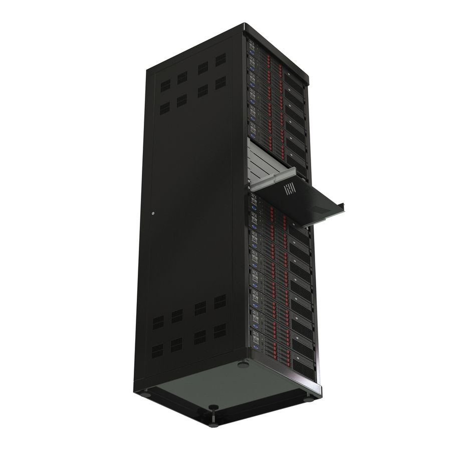 Servers in Rack 2 royalty-free 3d model - Preview no. 11