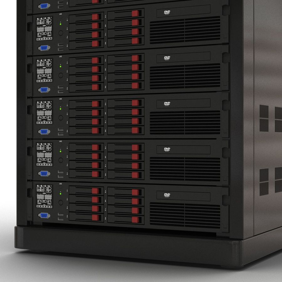 Servers in Rack 2 royalty-free 3d model - Preview no. 15