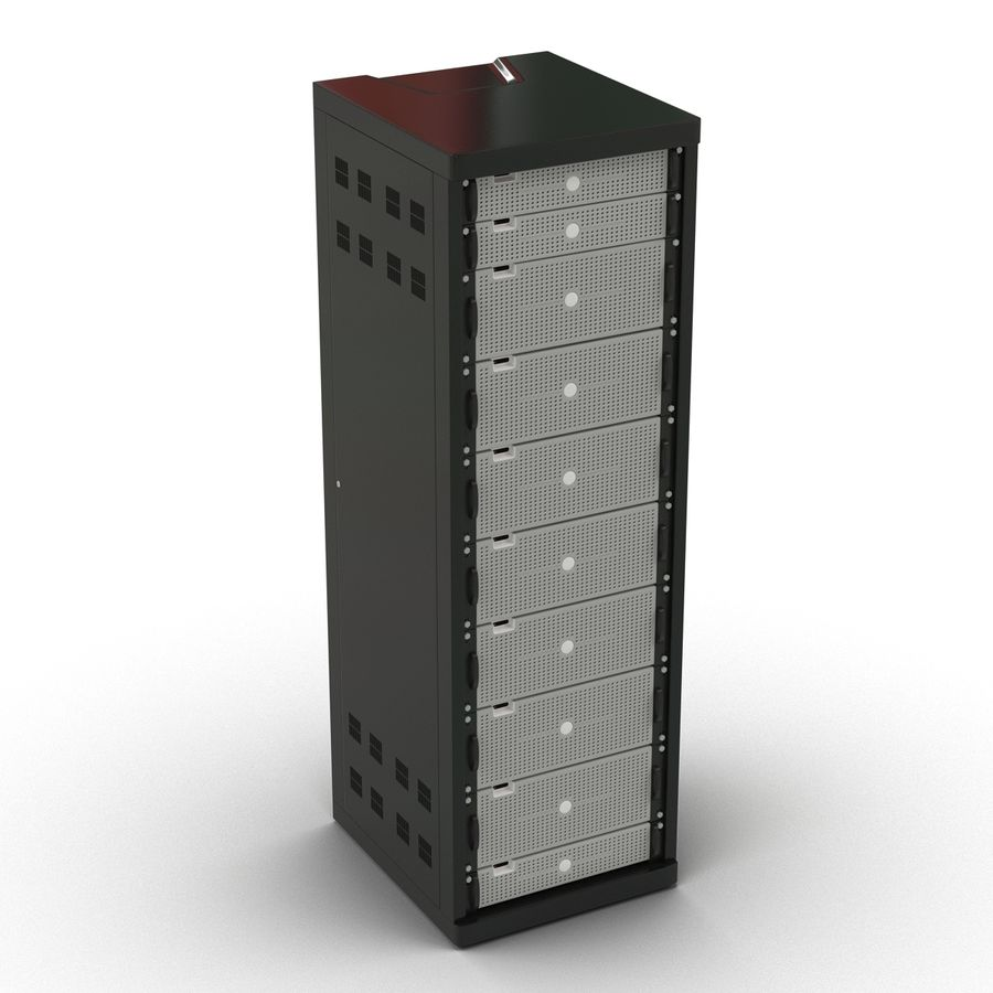 Generic Servers in Rack 2 royalty-free 3d model - Preview no. 6