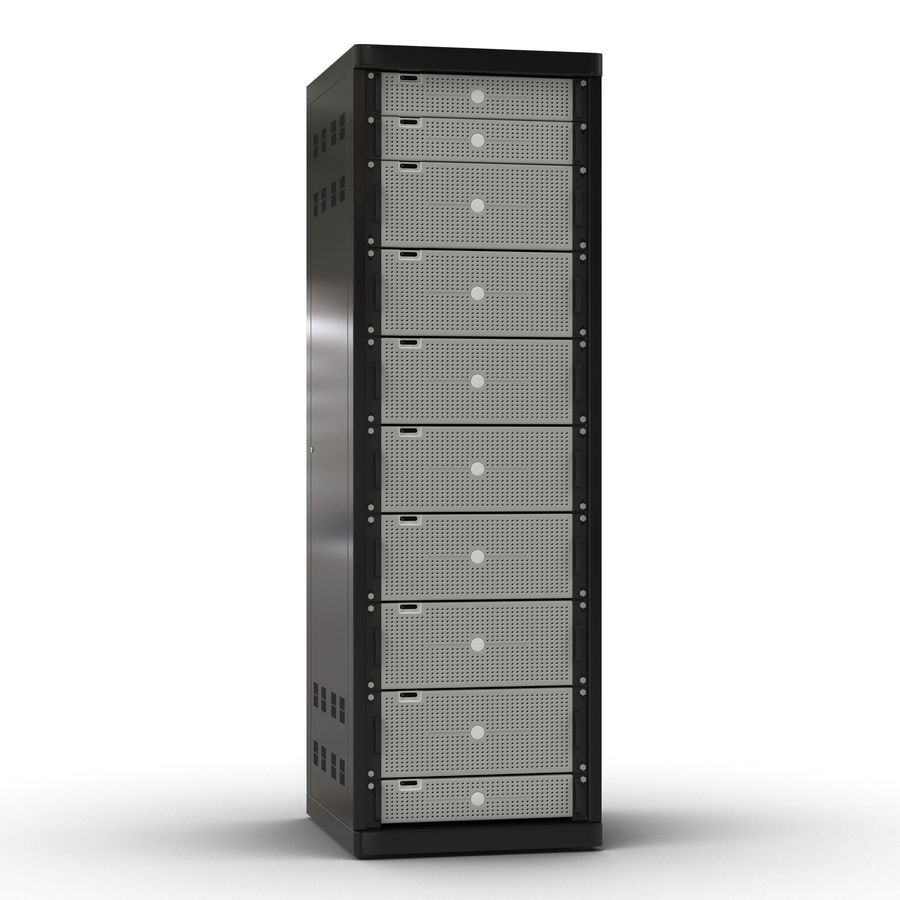 Generic Servers in Rack 2 royalty-free 3d model - Preview no. 2
