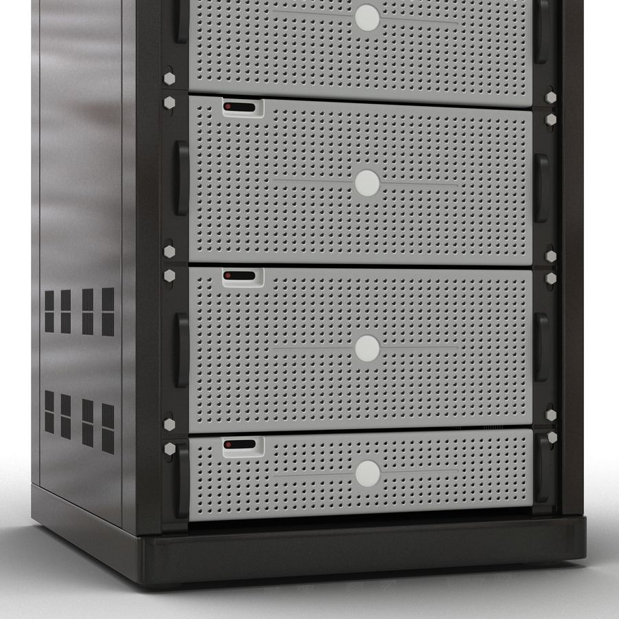 Generic Servers in Rack 2 royalty-free 3d model - Preview no. 12
