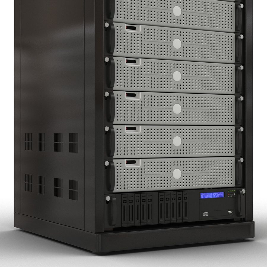 Generic Servers in Rack 3 royalty-free 3d model - Preview no. 11