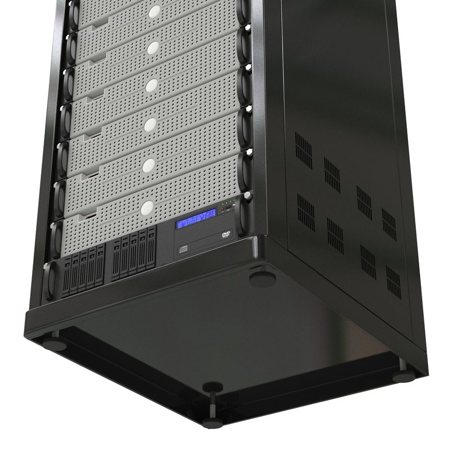 Generic Servers in Rack 3 royalty-free 3d model - Preview no. 15