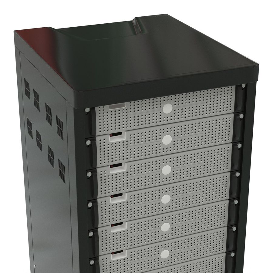 Generic Servers in Rack 3 royalty-free 3d model - Preview no. 10