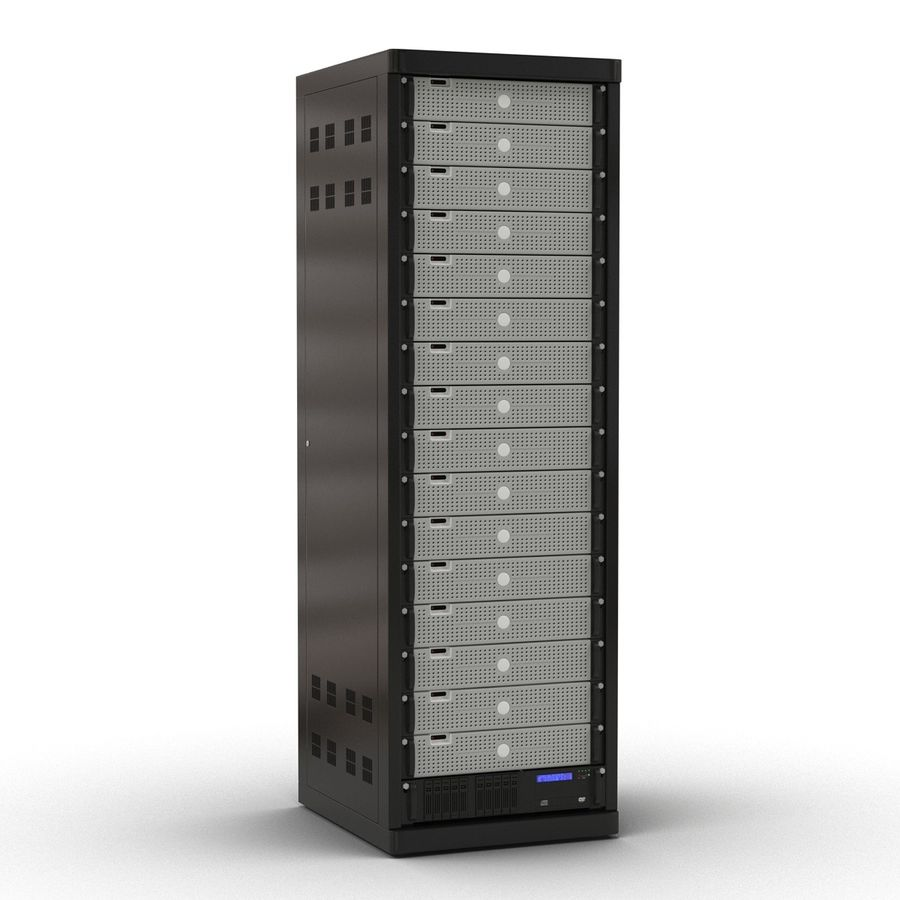 Generic Servers in Rack 3 royalty-free 3d model - Preview no. 3