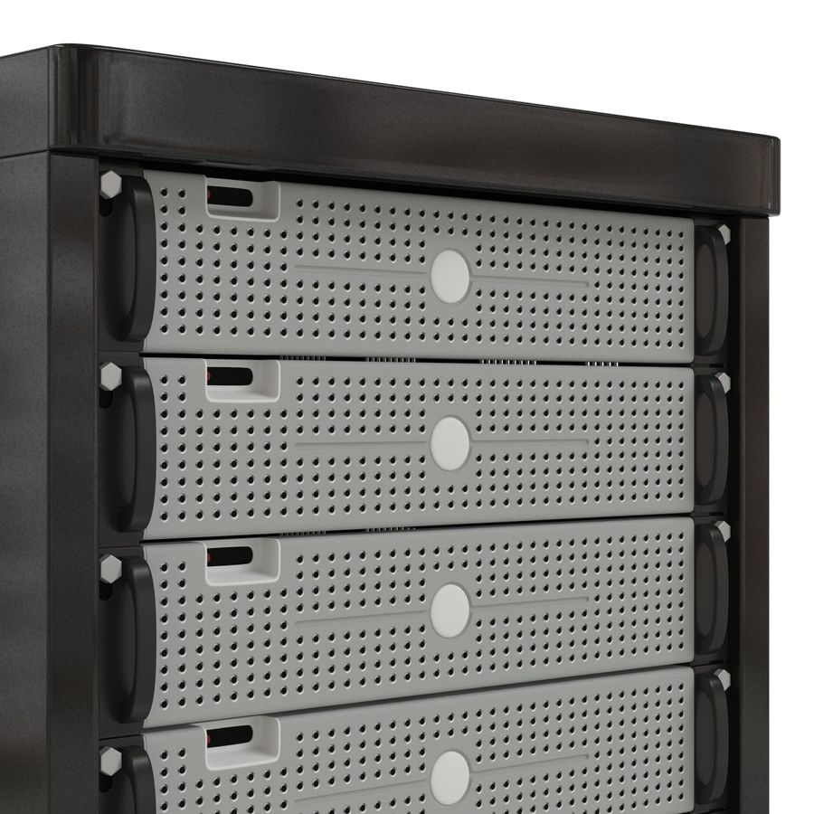 Generic Servers in Rack 3 royalty-free 3d model - Preview no. 14