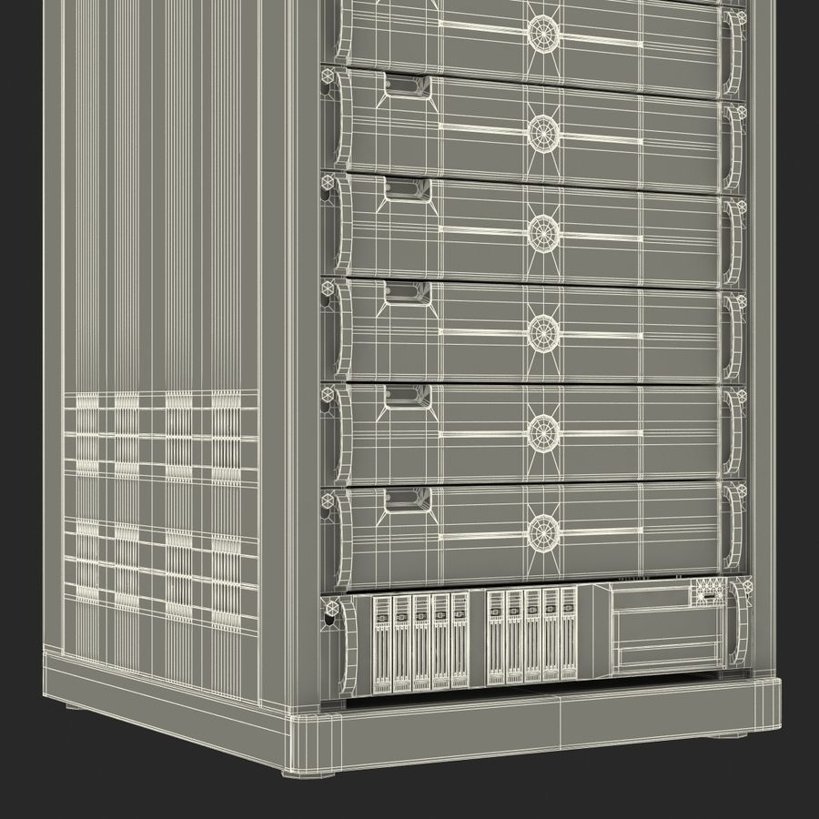 Generic Servers in Rack 3 royalty-free 3d model - Preview no. 26