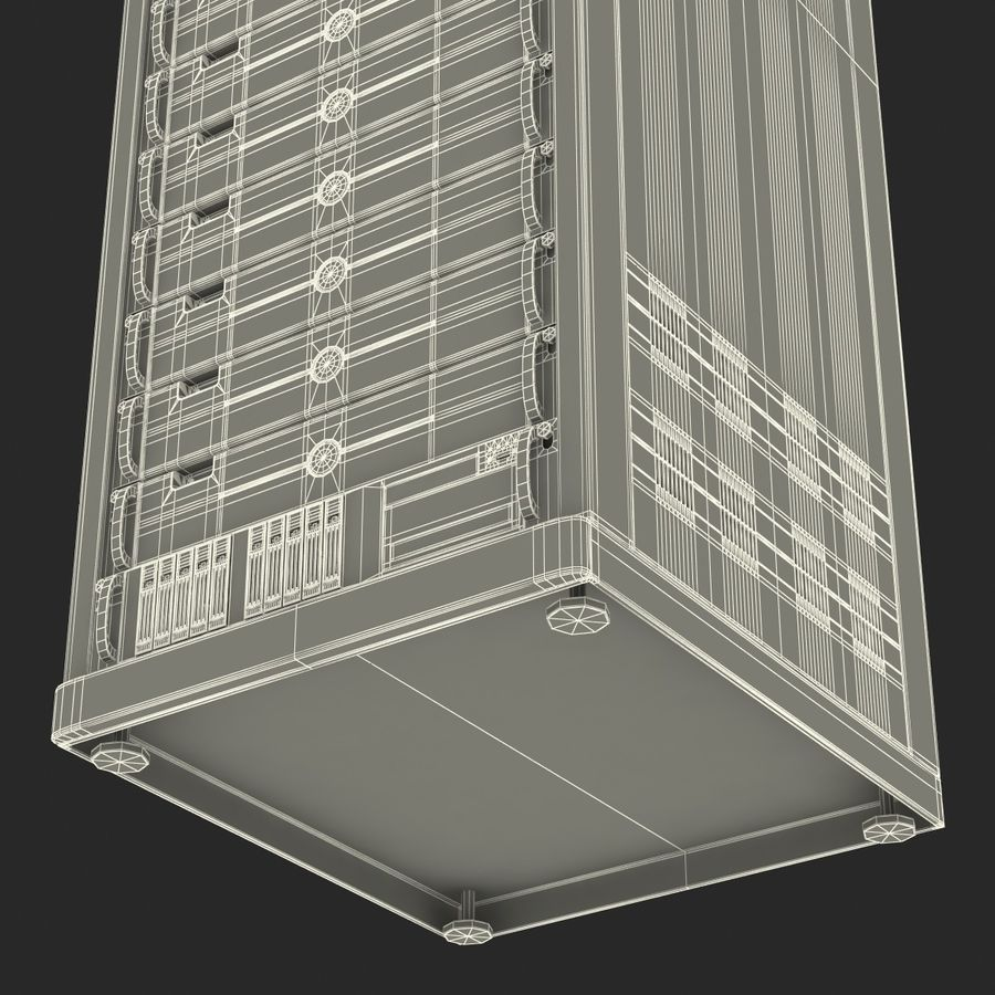Generic Servers in Rack 3 royalty-free 3d model - Preview no. 27