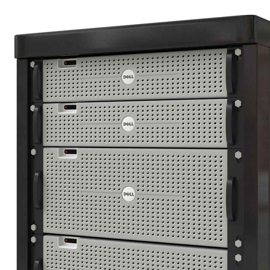Dell Servers in Rack 3D Model royalty-free 3d model - Preview no. 10