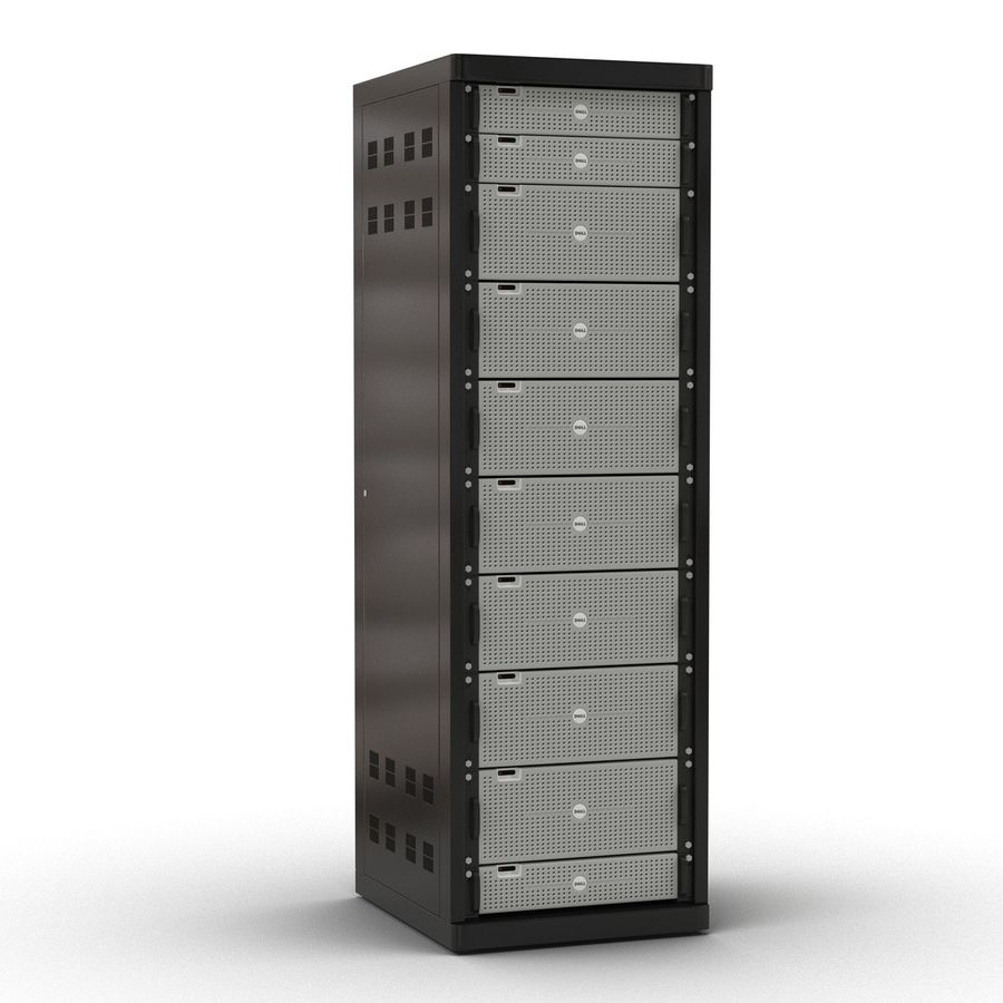 Dell Servers in Rack 3D Model royalty-free 3d model - Preview no. 5