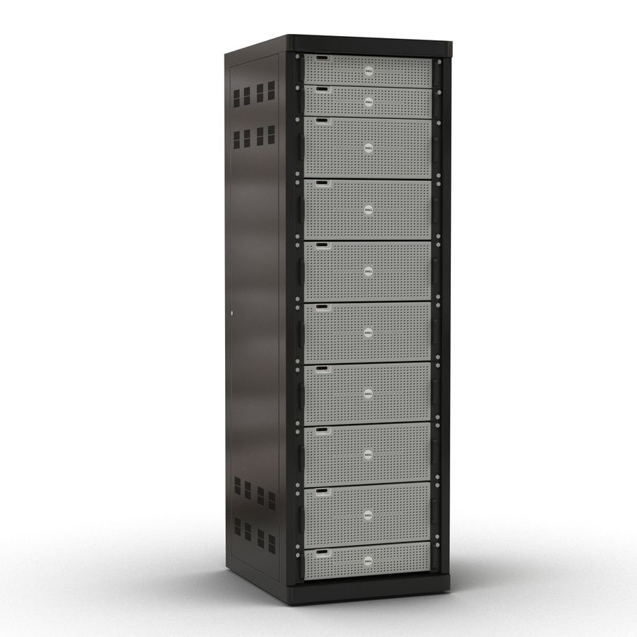Dell Servers in Rack 3D Model royalty-free 3d model - Preview no. 3