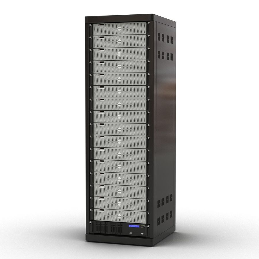 Dell Servers in Rack 2 royalty-free 3d model - Preview no. 3