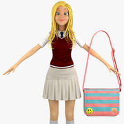 Teenage Girl Student 1c (kamizelka sweter) 3d model