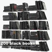 zwarte boeken set 3d model