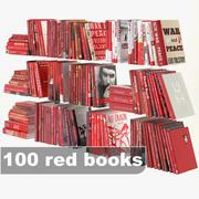 ensemble de livres rouges 3d model