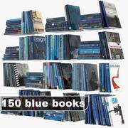 ensemble de livres bleus 3d model