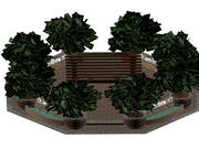 Pavillion with Trees and Fountains 3d model