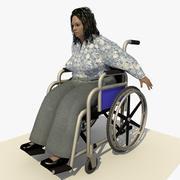 Bir Tekerlekli sandalyede Hareketli Engelli Avrupalı Kadın 3d model