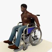 坐在轮椅上的动画残疾非洲年轻人 3d model