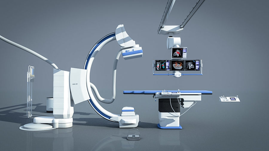 Simens Angiography Machine royalty-free 3d model - Preview no. 1