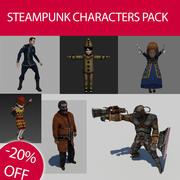 Pack de personnages Steampunk 3d model