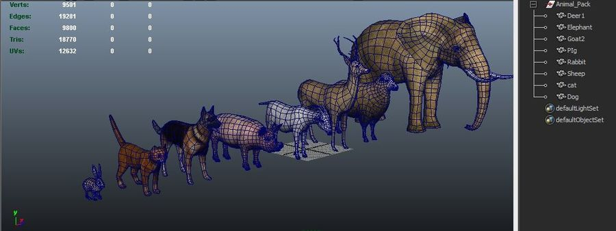 Kolekcja zwierząt royalty-free 3d model - Preview no. 18