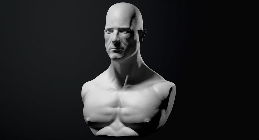 Männliche Büste royalty-free 3d model - Preview no. 3