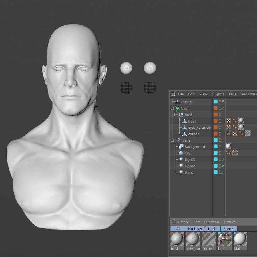 Männliche Büste royalty-free 3d model - Preview no. 20
