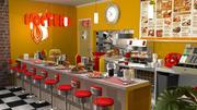 Karikatür Restoranı 3d model