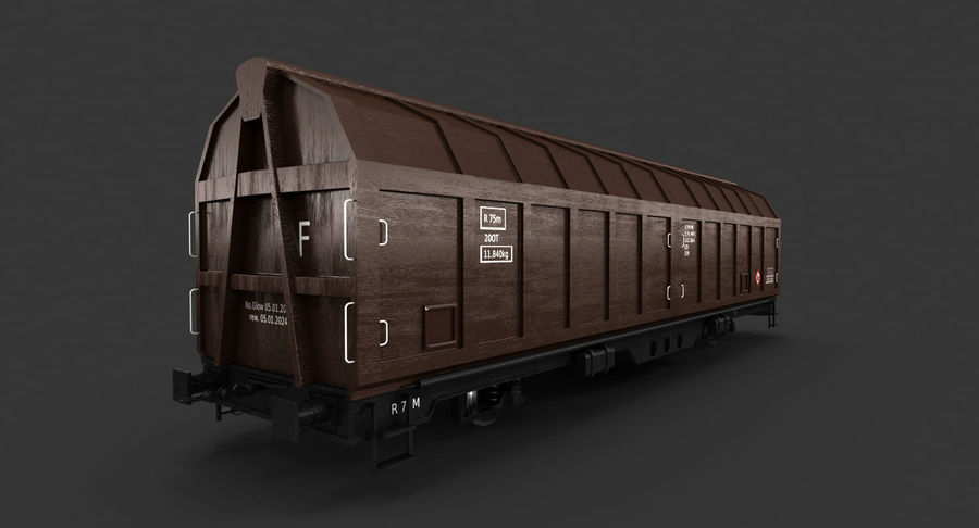 Cargo Railroad Car royalty-free 3d model - Preview no. 9