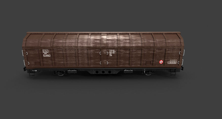 Cargo Railroad Car royalty-free 3d model - Preview no. 8