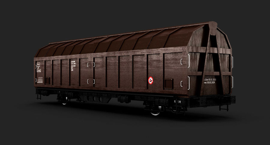 Cargo Railroad Car royalty-free 3d model - Preview no. 3