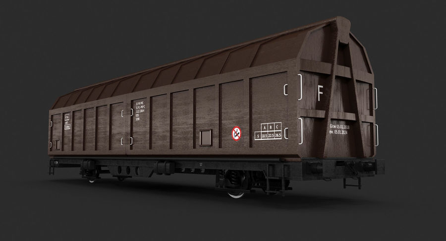 Cargo Railroad Car royalty-free 3d model - Preview no. 7