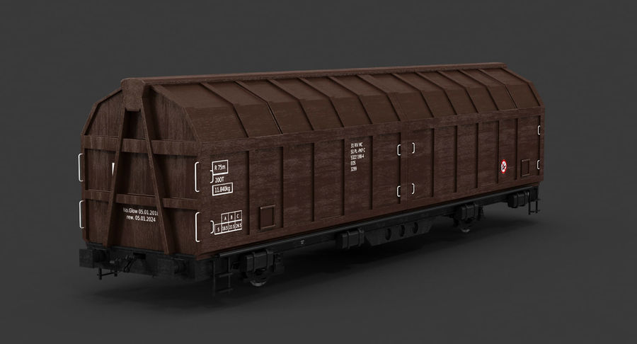 Cargo Railroad Car royalty-free 3d model - Preview no. 6