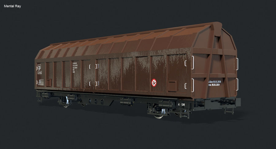 Cargo Railroad Car royalty-free 3d model - Preview no. 4