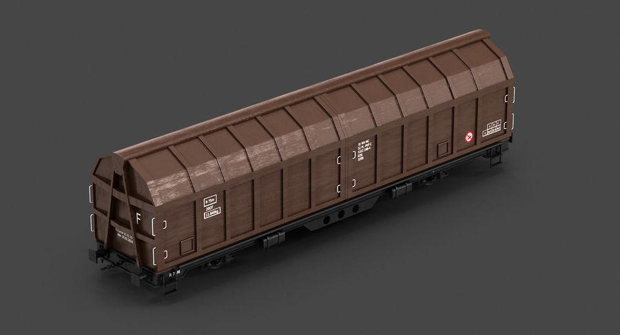 Cargo Railroad Car royalty-free 3d model - Preview no. 10
