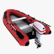 Надувная лодка с подвесным мотором 3d model