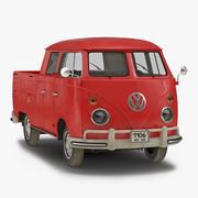 Volkswagen Type 2 Dubbele cabine Pick-up Eenvoudig interieur Rood 3D-model 3d model