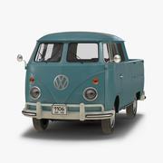 Volkswagen Type 2 Dubbele cabine Pick-up Eenvoudig interieur Blauw 3D-model 3d model